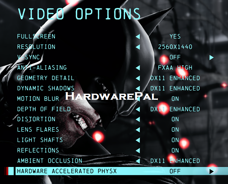 Batman Arkham origins 2560x1440, FXAA High Settings Screen
