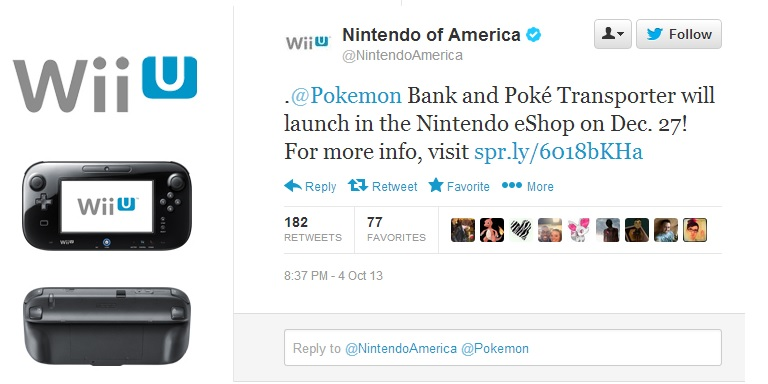 nintendo america tweets about pokemon bank and transporter Nintendo To Launch Pokemon Bank and Poke Transporter