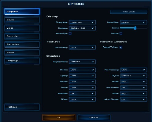 Starcraft 2 settings