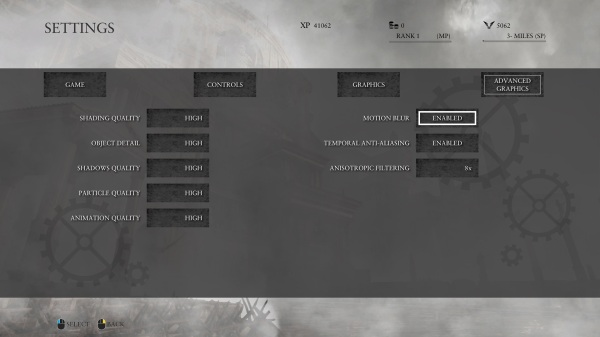 Ryse Son of Rome Advanced Graphics Menu