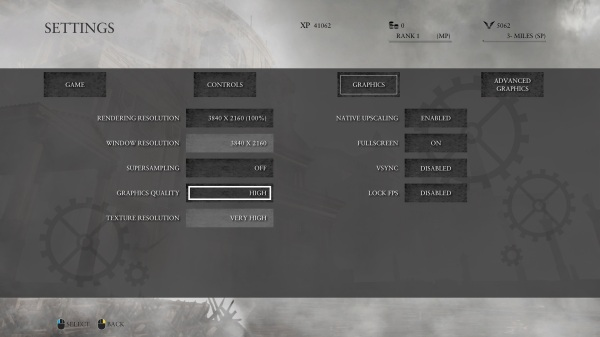 Ryse Son of Rome Graphics Settings Menu