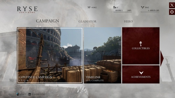 Ryse Son of Rome Main Menu