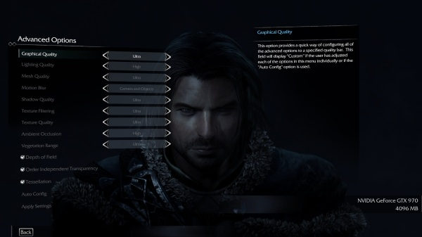 Shadow Of Mordor Advanced Options Menu
