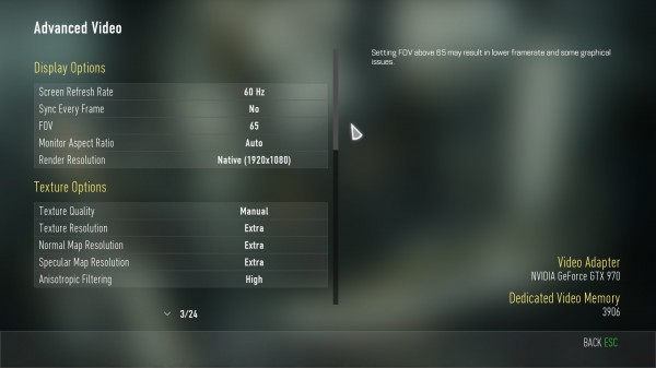 COD Advanced Warfare Advanced Video Menu
