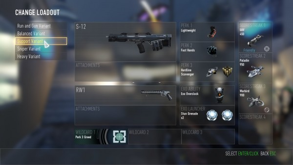 COD Advanced Warfare Class Variants