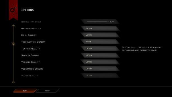 Dragon Age Inquisition Graphic Settings Menu